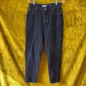 Express Bleus Classic Petite Vintage Black Hi Rise Distressed Denim Jeans sz 14